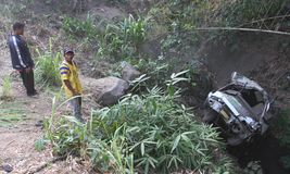 Desplome del accidente del autobús Fotografía de archivo libre de regalías