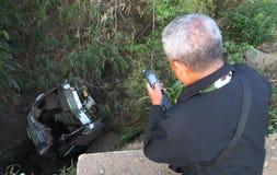 Desplome del accidente del autobús Fotos de archivo libres de regalías