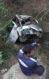 Desplome del accidente del autobús Imagen de archivo libre de regalías
