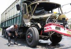Desplome del accidente del camión Imagenes de archivo