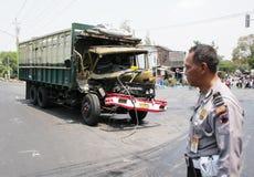 Desplome del accidente del camión Fotos de archivo libres de regalías