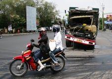Desplome del accidente del camión Foto de archivo libre de regalías