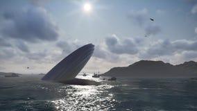 Desplome del UFO en un mar Ilustración del Vector
