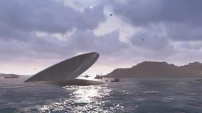Desplome del UFO en un mar del invierno ilustración del vector