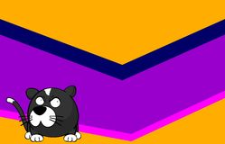 Despondent Little ball cat cartoon background Royalty Free Stock Photos