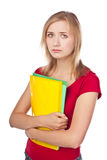 Despondent student looking at files Stock Photography