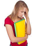 Despondent student in studio. White Stock Photography