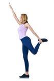 Desportista fêmea que faz exercícios Fotografia de Stock