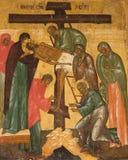 ?desposition [di jesus]? dall'icona russa trasversale Immagini Stock Libere da Diritti
