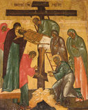 ?desposition [von Jesus] von der Quer? russischen Ikone Lizenzfreie Stockbilder
