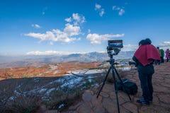 Después de Dongchuan, tierra roja de Yunnan del fotógrafo de la nieve Foto de archivo