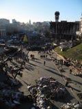 Después de la confrontación en el Maidan de Kiev en Ucrania en 2014 foto de archivo libre de regalías