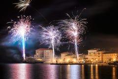  después de la puesta del sol en la oscuridad, Croacia de PoreÄ Imagenes de archivo