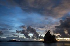 Después de puesta del sol en la playa de Tanjung Layar Fotografía de archivo libre de regalías