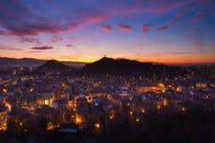 Después de puesta del sol en Plovdiv Imagen de archivo libre de regalías