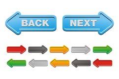 Después y botones traseros - botones de la flecha Fotos de archivo