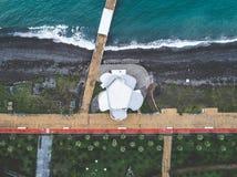 desrted堤防,巴统,乔治亚鸟瞰图  免版税库存图片