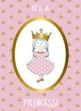 Dess ett flickakort med den lilla prinsessan Royaltyfria Bilder