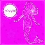 Dess ett flickakort med sjöjungfrun royaltyfri illustrationer