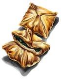 Dessa spenat eller salt ost fyllda bakelsemellanmål är specifika till östligt - europeiska länder vektor illustrationer