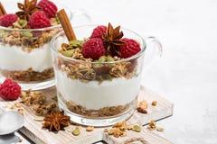 dessert épicé avec la granola et le yaourt doux sur le conseil en bois Photo stock