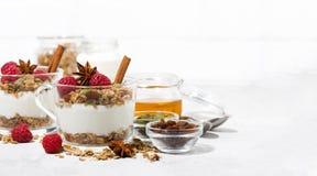 dessert épicé avec la granola, les framboises et le yaourt doux Photographie stock libre de droits