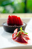 Dessert. Chocolate Cake with Fresh Strawberry Stock Photography
