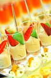 Dessert. Glass bowls with creamy dessert, italian catering royalty free stock photography