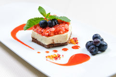 Dessert. Luscious berry dessert on a plate Stock Photo