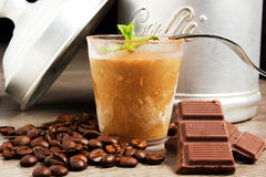 Dessert. At coffee with chocolate Stock Images