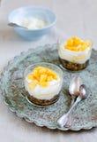 Dessert. Yoghurt with the muesli and mango Stock Images