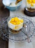 Dessert. Yoghurt with the muesli and mango Royalty Free Stock Photo