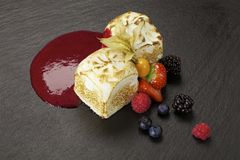 Dessert. With raspberries, strawberries, blackberries and blueberries Stock Images