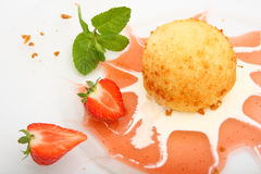 Dessert. Desert ice cream and strawberry food sweet Royalty Free Stock Photos