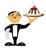 Dessert. Vector pics of a waiter is a holding in a hand dish with a cake Stock Images