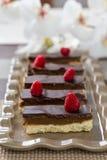 Dessert al forno con i lamponi Fotografia Stock