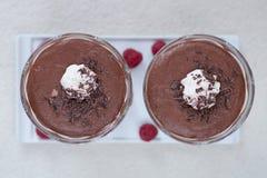 Dessert alla panna del cioccolato Immagini Stock