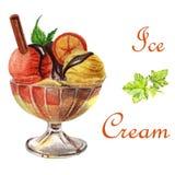 Dessert alla panna del ghiaccio dell'illustrazione dell'alimento dell'acquerello royalty illustrazione gratis