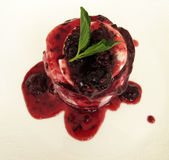 Dessert alla panna del ghiaccio di Raspberrry Fotografia Stock