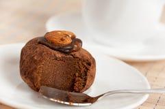Dessert - almond truffles and coffee Stock Photos
