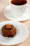 Dessert - almond truffles and coffee Royalty Free Stock Image