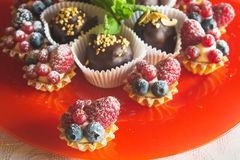 Dessert baked cupcakes Royalty Free Stock Images