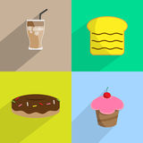 Dessert bakery sweets set flat icon - Vector Royalty Free Stock Image