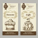 Dessert bakery vector background set. Template vertical vintage banners with calligraphic frame and hand drawn food for menu, cafe stock illustration