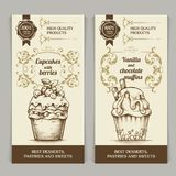 Dessert bakery vector banners set in vintage style Template vertical retro banners collection with calligraphic elements stock illustration