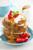 Dessert of banana cake with caramel sauce Stock Photography