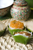 Dessert in banana leaf cup Royalty Free Stock Images