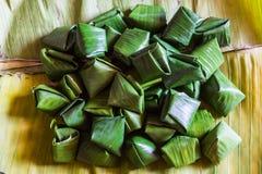Dessert Banana leaf wrap, Thai style Stock Photo