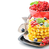 Dessert with Belgian waffles and fresh berries Royalty Free Stock Photo