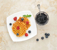 Dessert - Belgian waffles with fresh berries Royalty Free Stock Photo